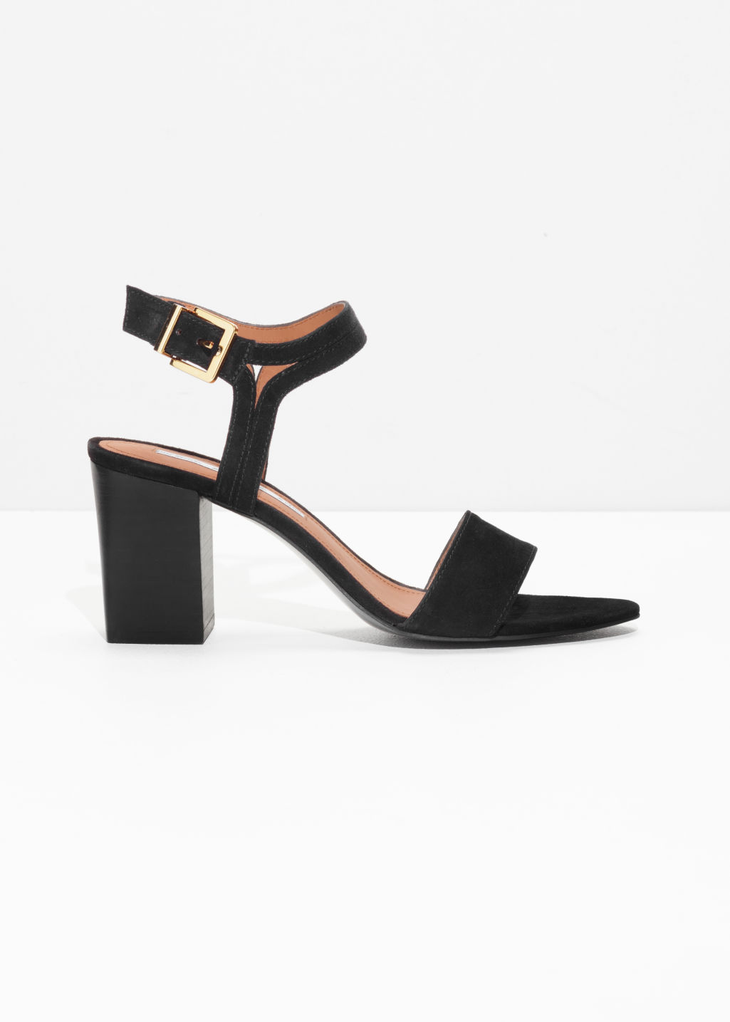 Front image of Stories suede ankle strap sandalettes in black