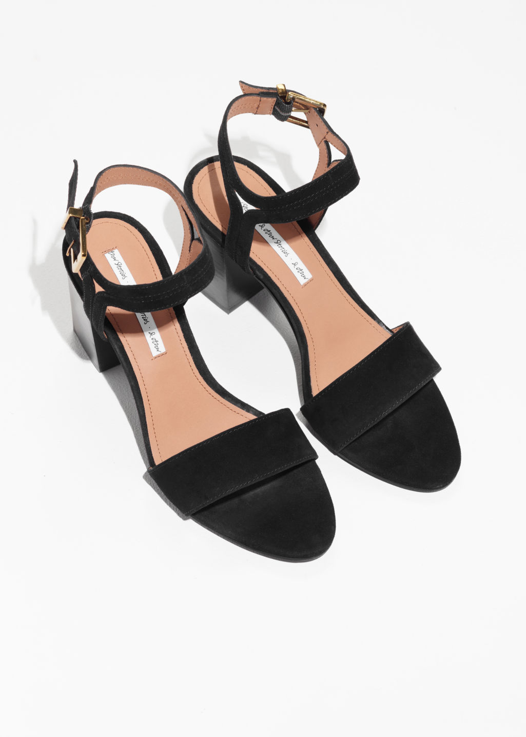Back image of Stories suede ankle strap sandalettes in black