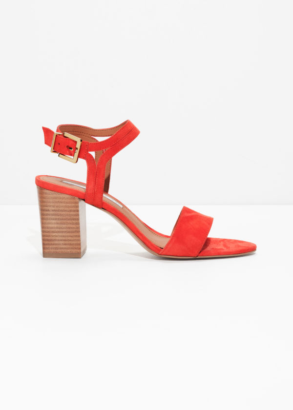 Front image of Stories suede ankle strap sandalettes in orange