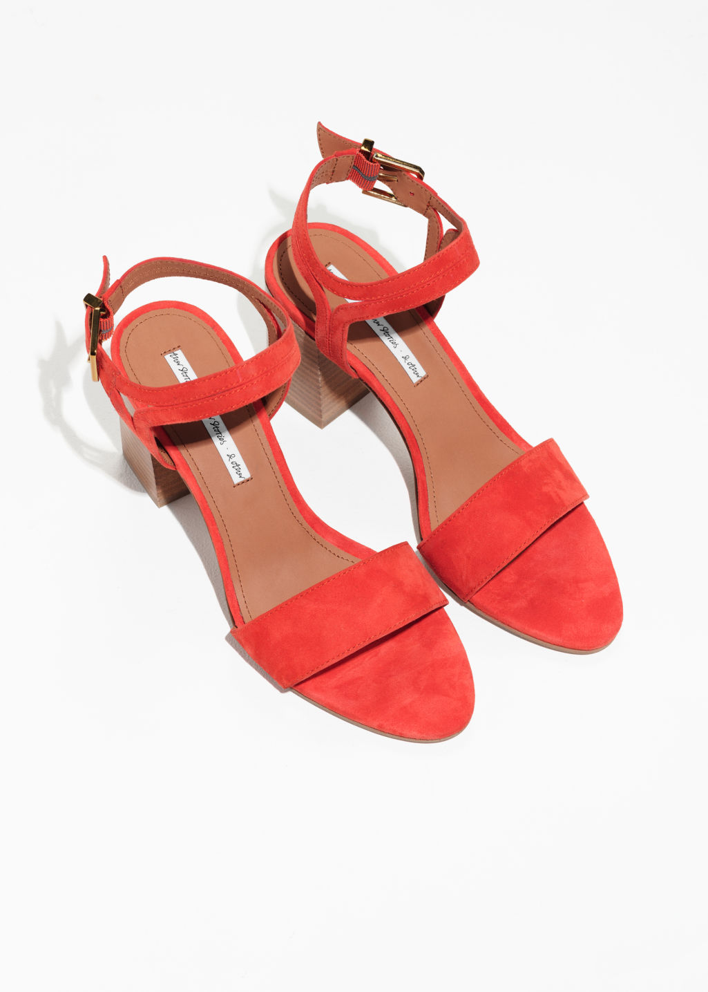 Back image of Stories suede ankle strap sandalettes in orange