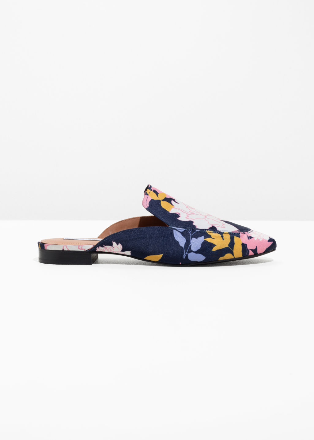 Front image of Stories floral print loafers in blue