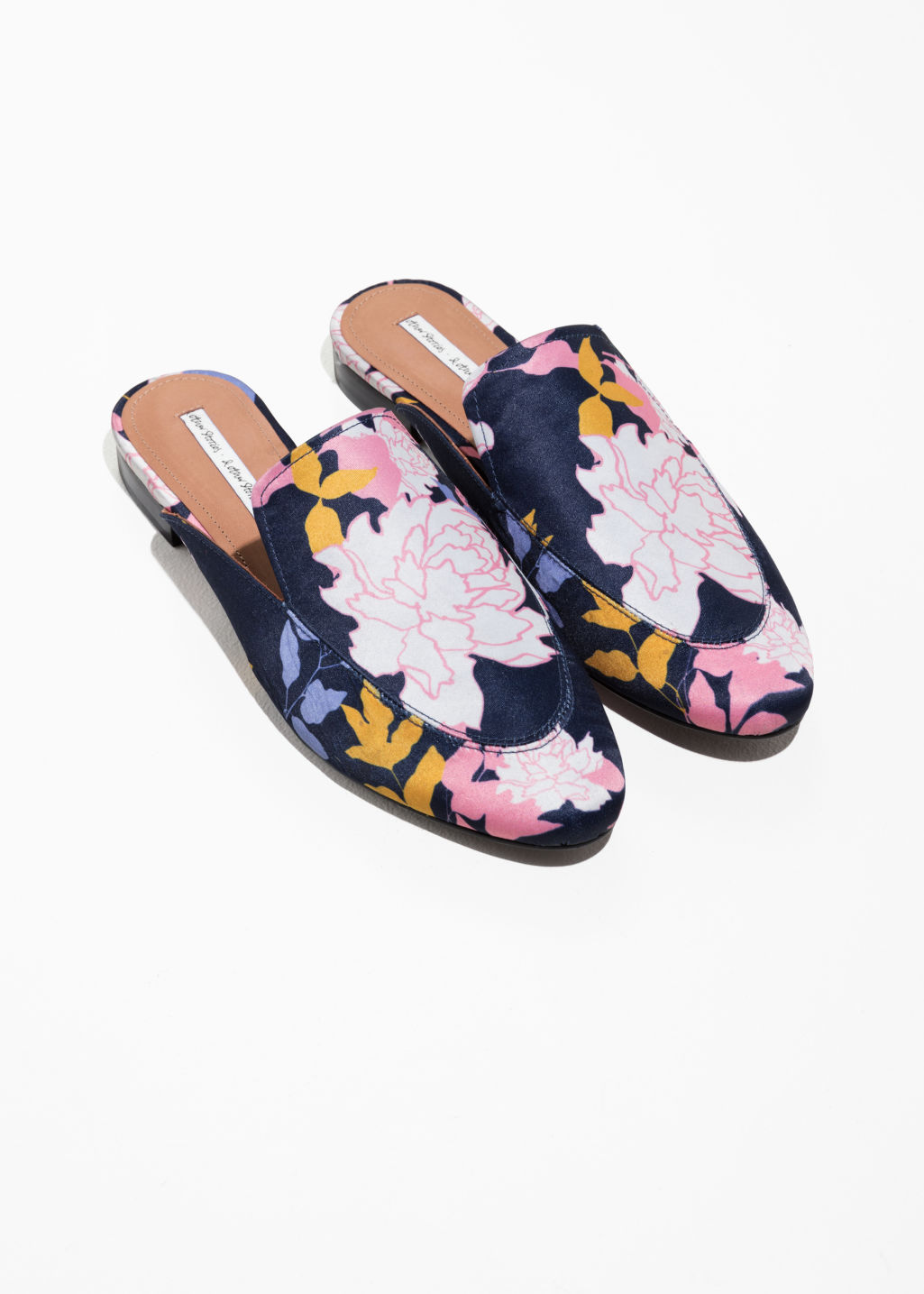 Back image of Stories floral print loafers in blue