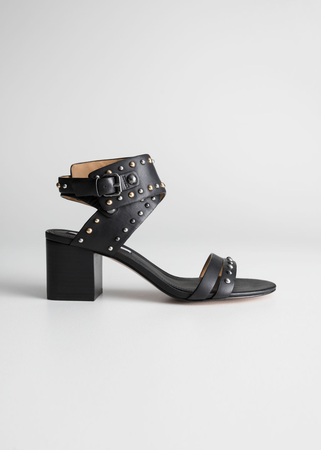 Back image of Stories studded sandalette pumps in black