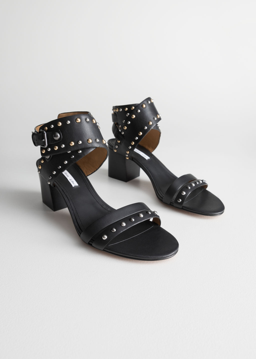 StillLife Front Image of Stories Studded Sandalette Pumps in Black