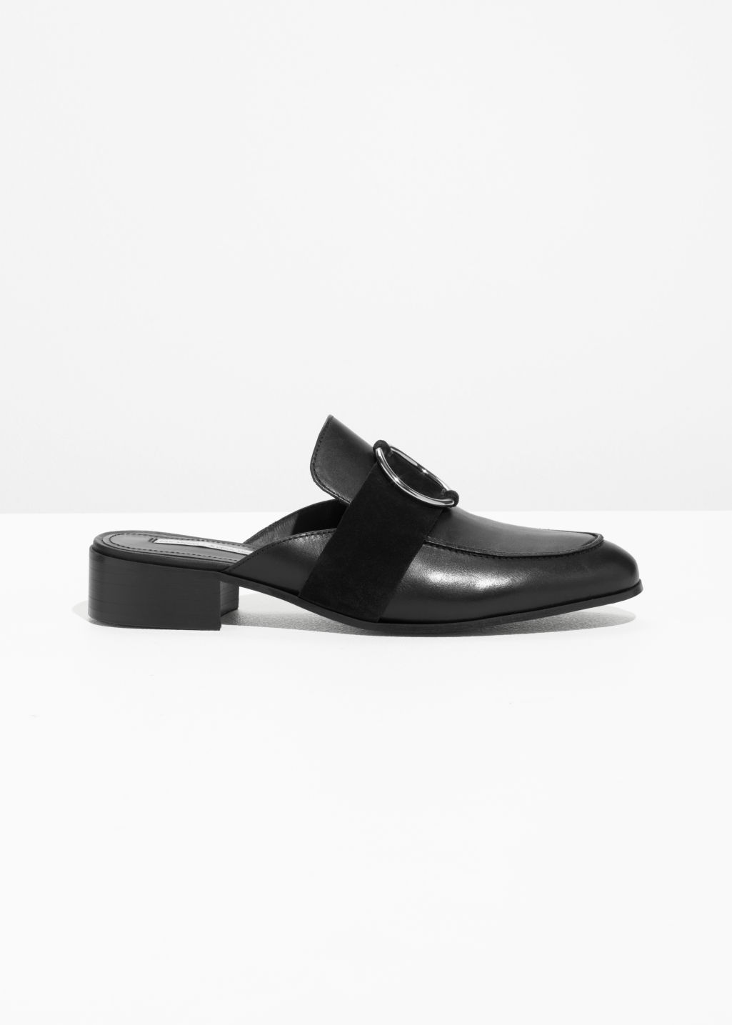 Front image of Stories o-ring slip on loafers in black