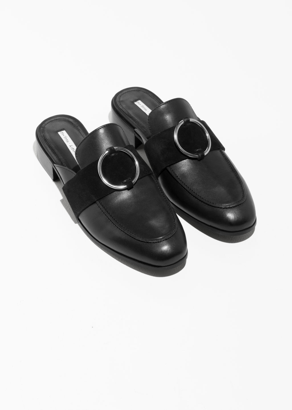 Back image of Stories o-ring slip on loafers in black