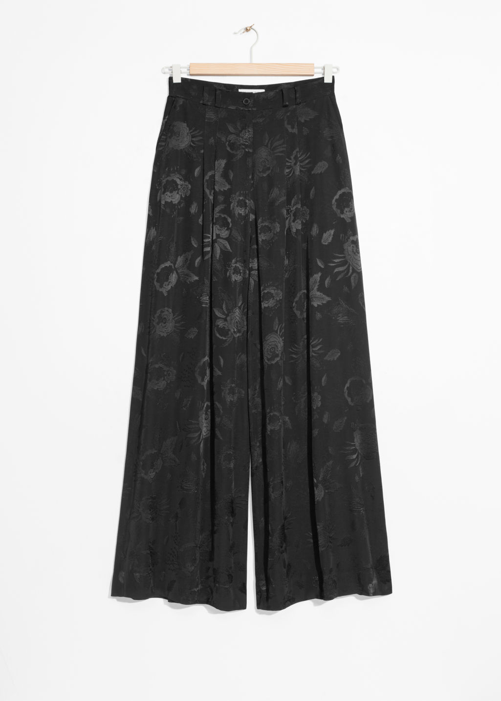 Front image of Stories wide satin trousers in black
