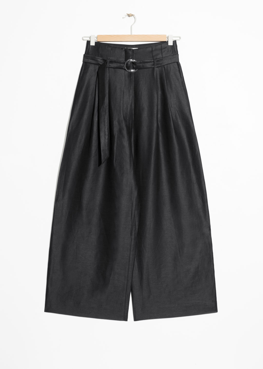 Front image of Stories d-ring belted culottes in black