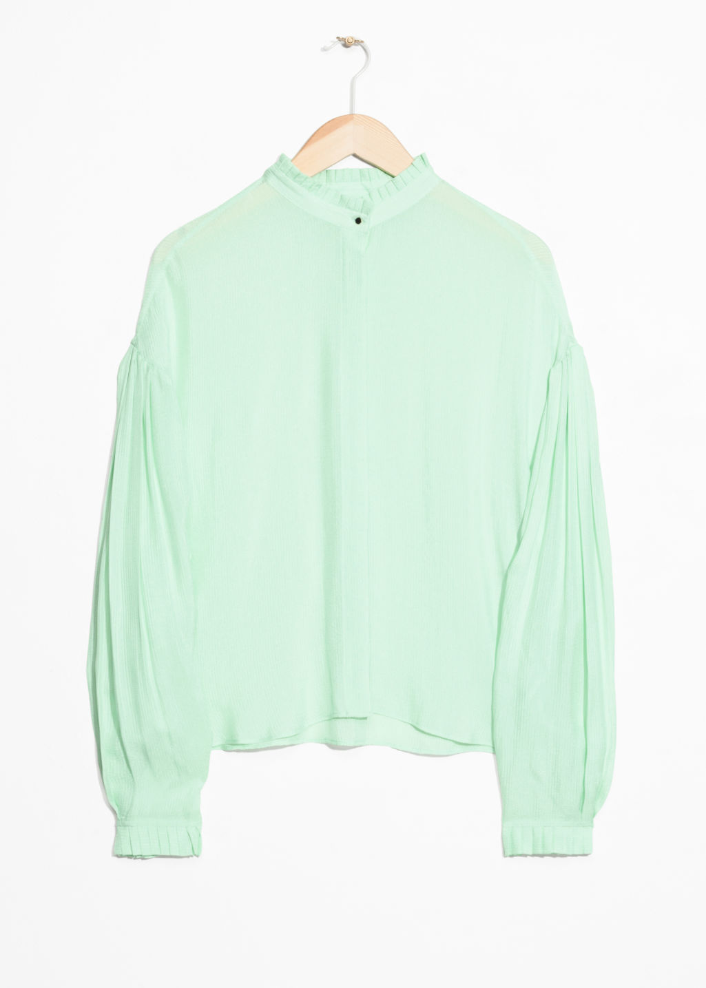 Front image of Stories sheer pleated blouse  in green