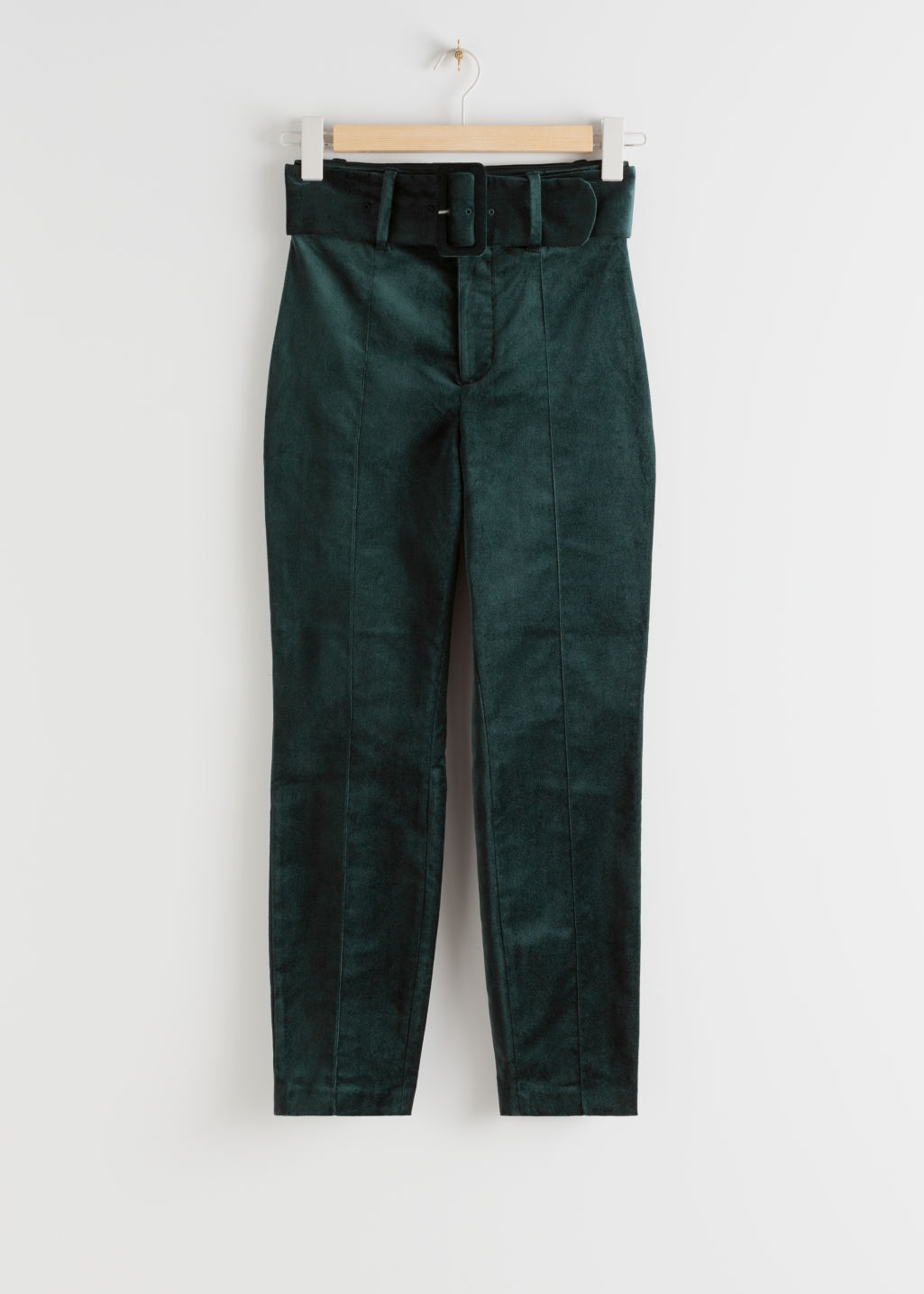 StillLife Front Image of Stories Belted Velvet Leggings in Green