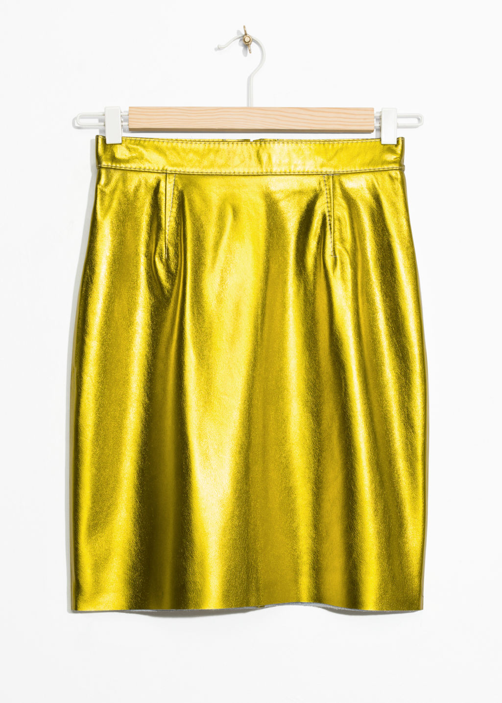 Front image of Stories leather skirt in yellow
