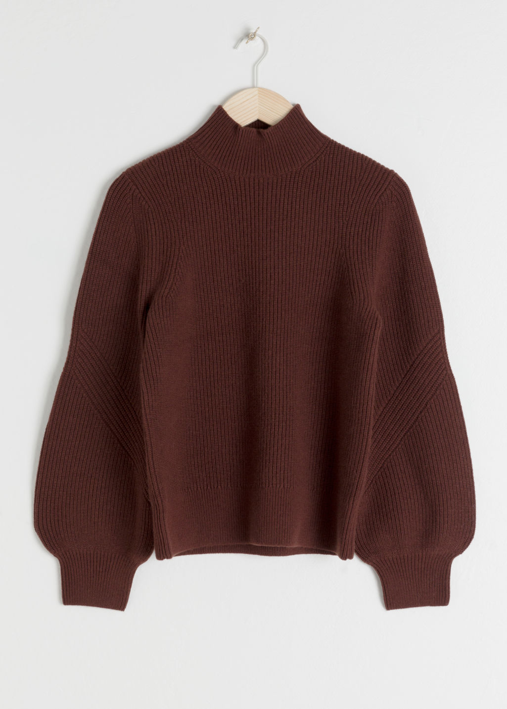 Front image of Stories puffy sleeve sweater in brown