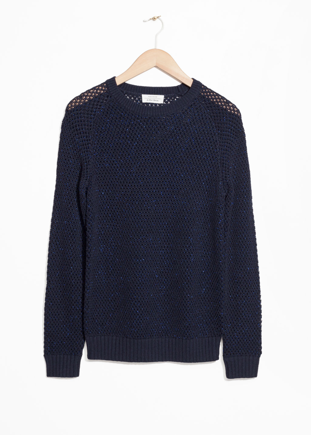 Front image of Stories micro honeycomb knit sweater in blue