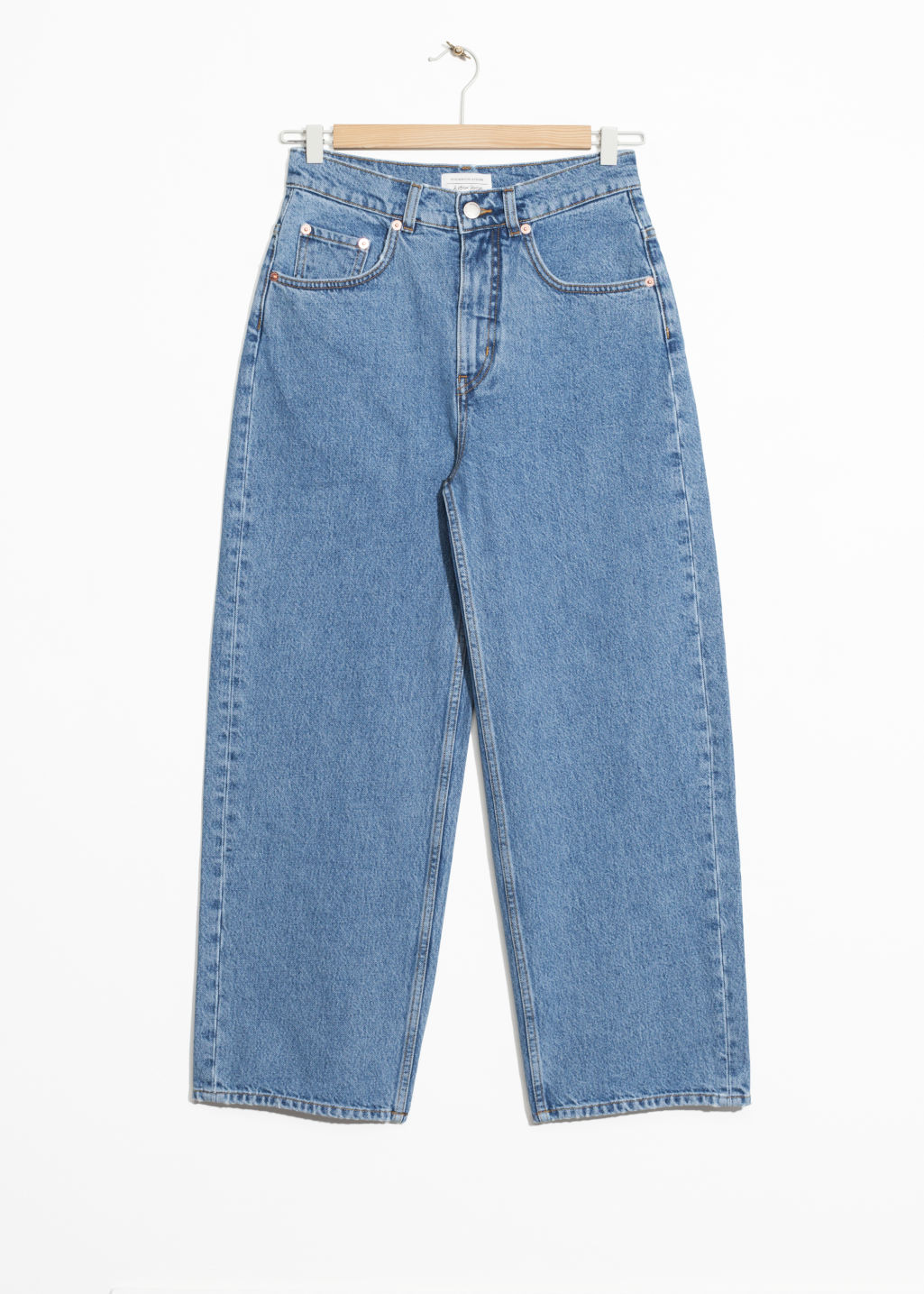 Front image of Stories high waisted culotte jeans in blue