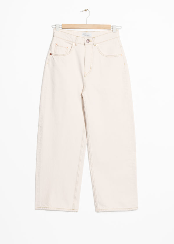Front image of Stories high waisted culotte jeans in white