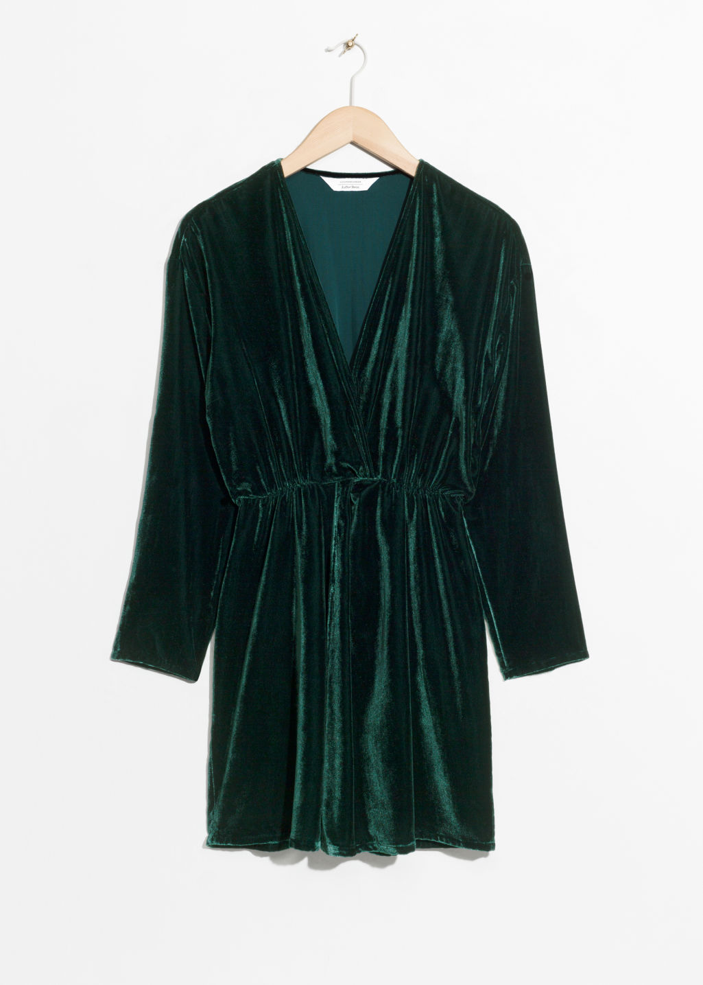 Front image of Stories velvet dress in green