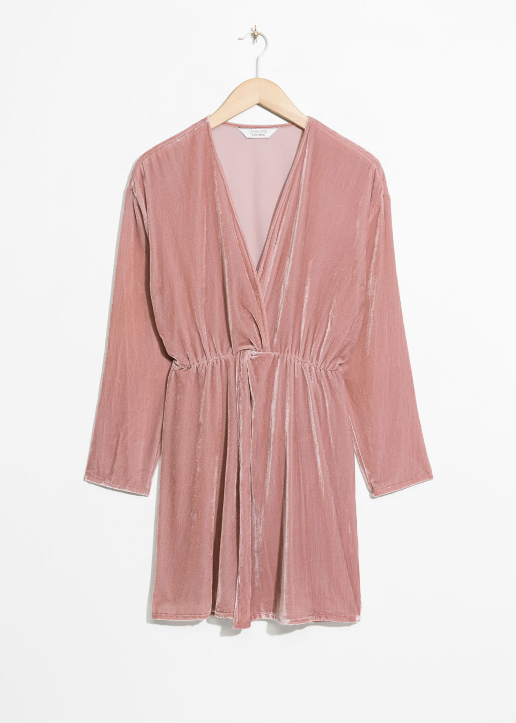 Front image of Stories velvet dress in pink
