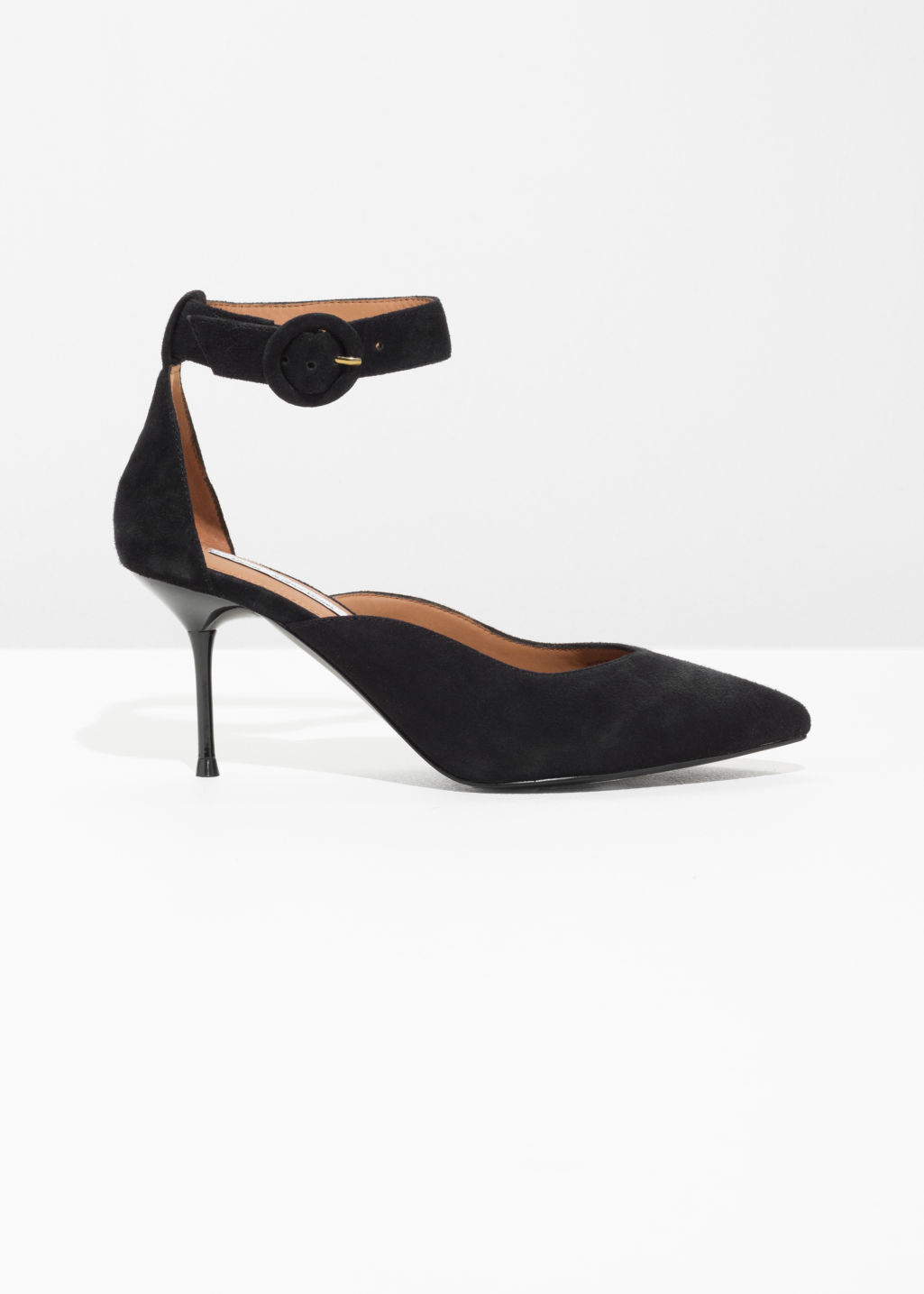 Front image of Stories curved ankle strap pumps  in black