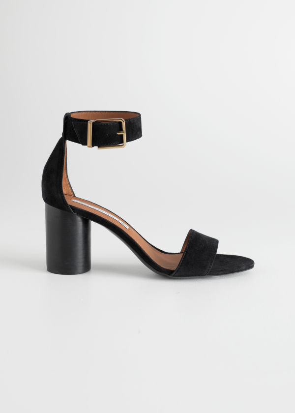 Front image of Stories square buckle heeled sandals in black
