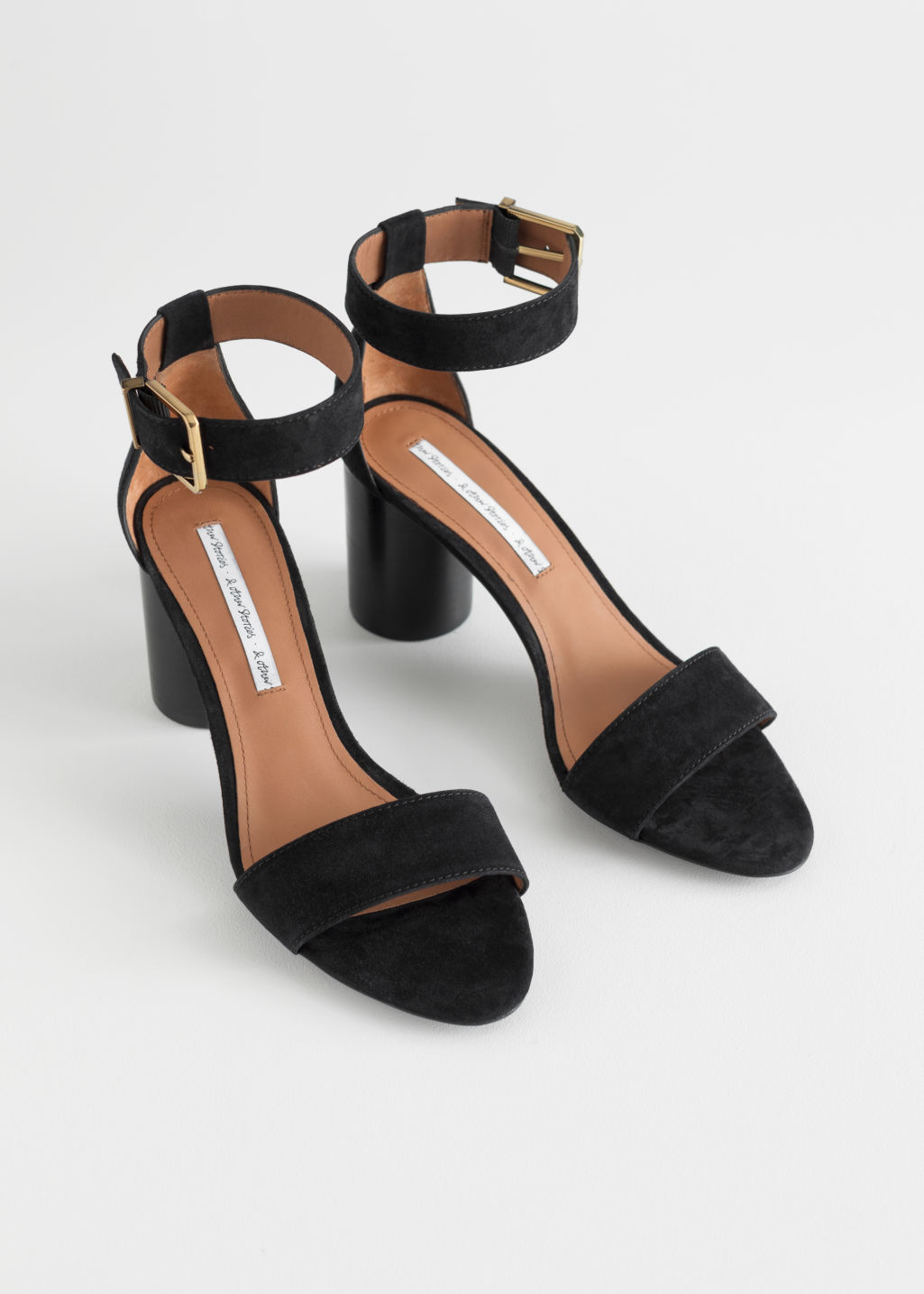 Back image of Stories square buckle heeled sandals in black