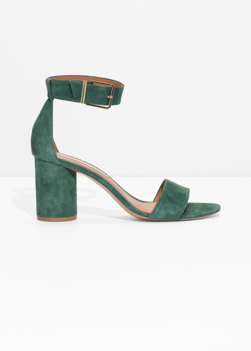 Front image of Stories square buckle heeled sandals in green