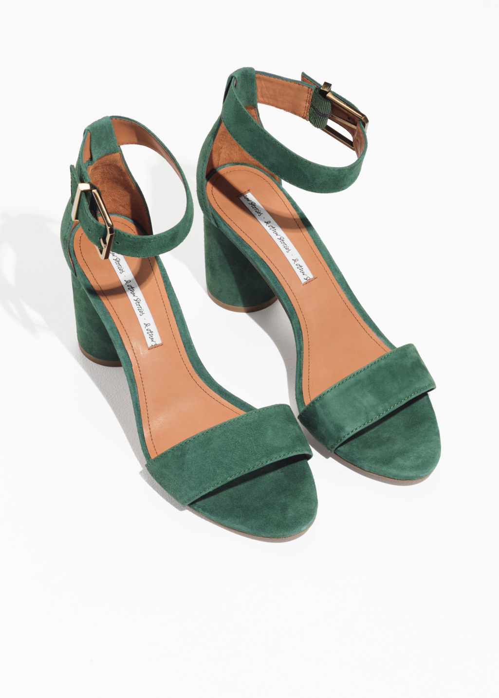 Back image of Stories square buckle heeled sandals in green