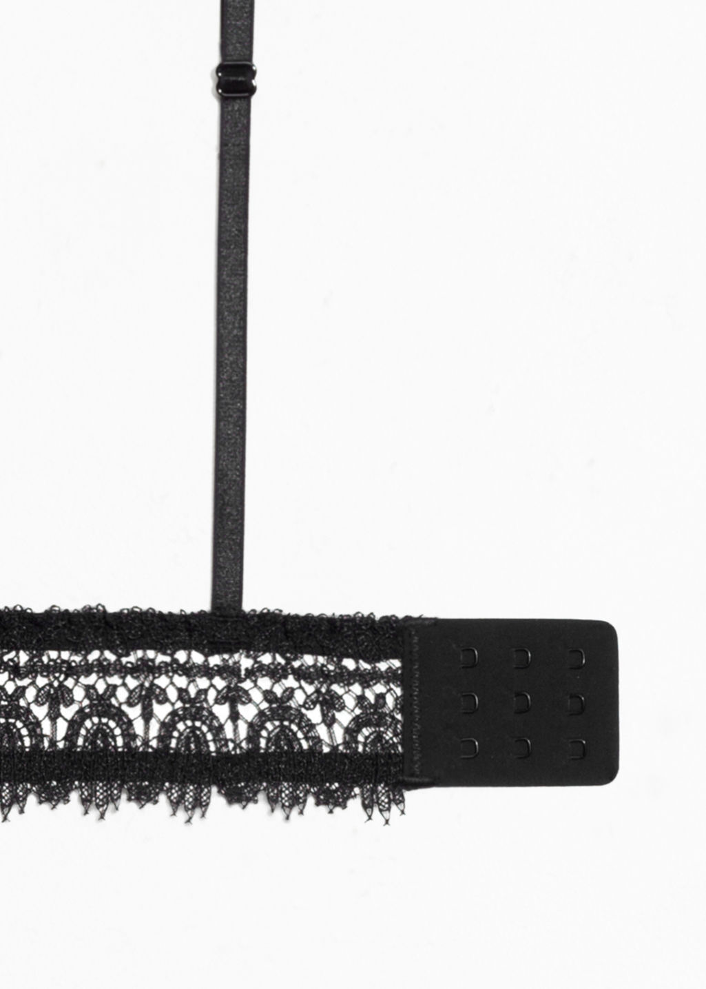 Back image of Stories eyelash lace triangle bralette in black