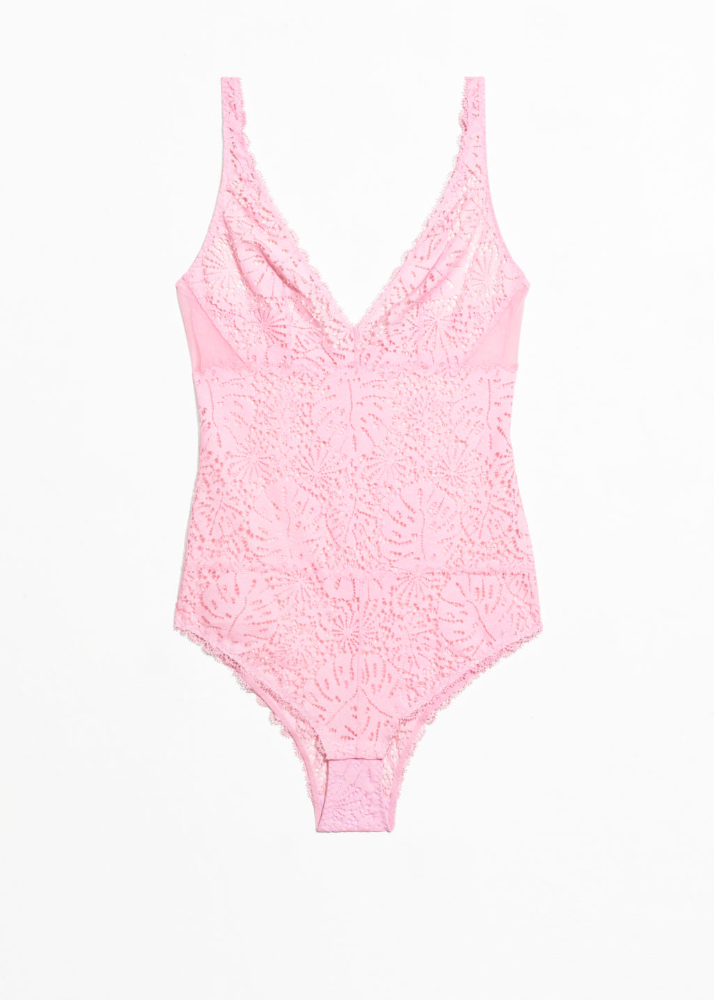 Front image of Stories leaf lace body in pink