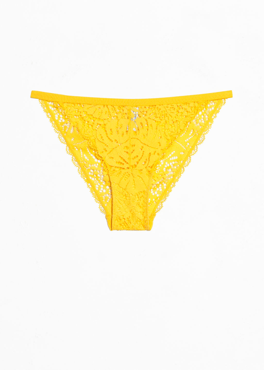 Front image of Stories leaf lace brief in yellow