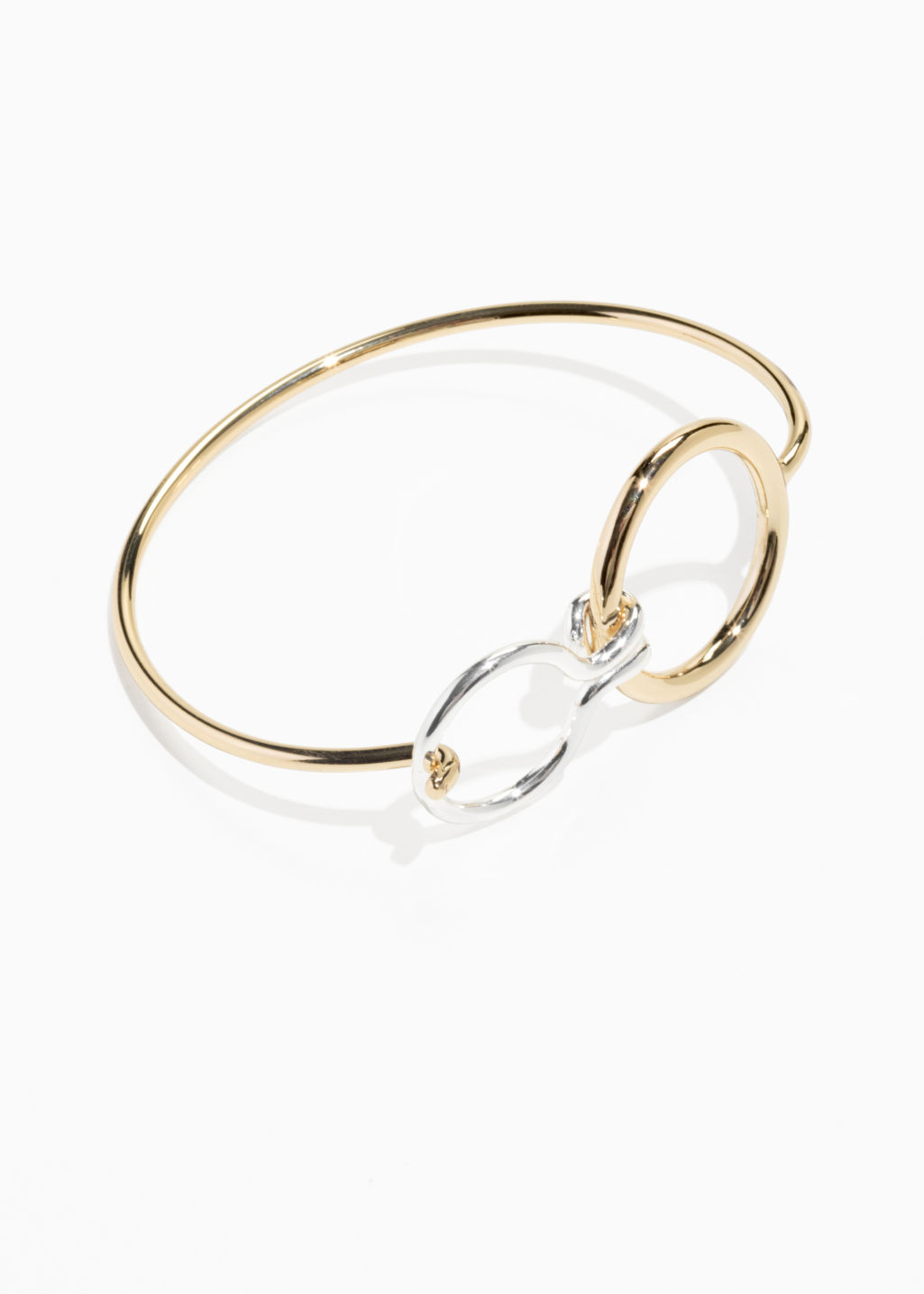 Front image of Stories mixed metal circle cuff in gold