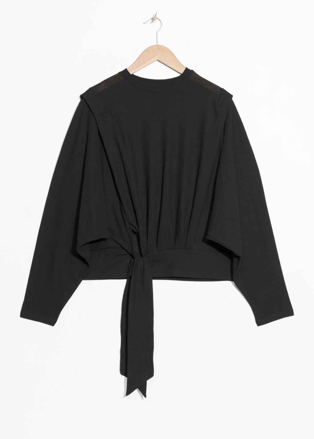 Front image of Stories side tie top  in black