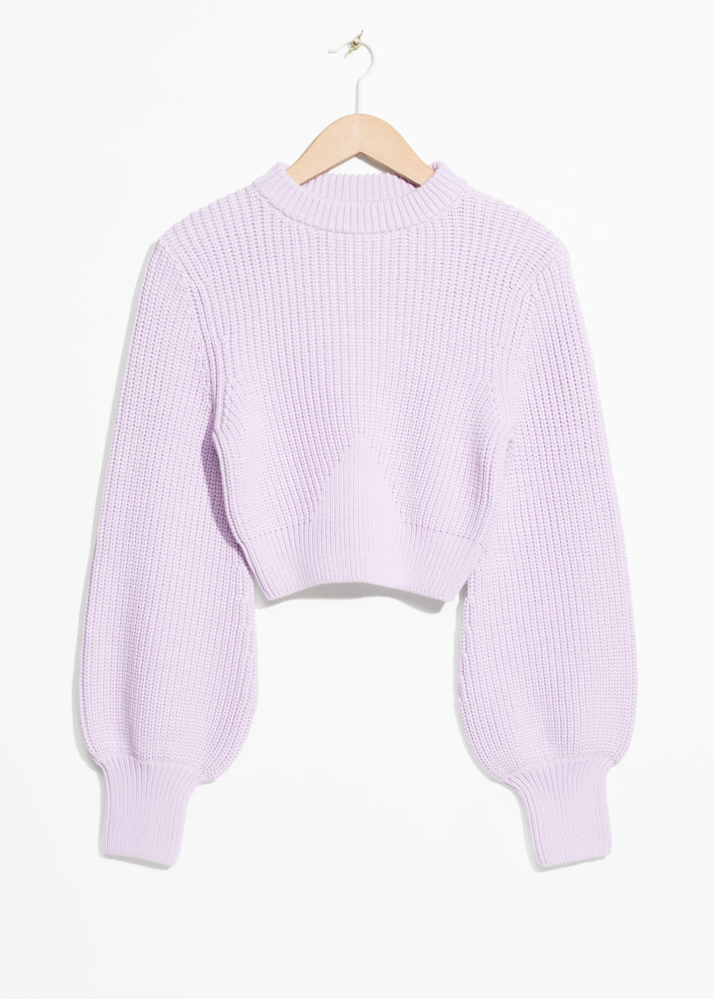 Front image of Stories cropped mock neck sweater in purple