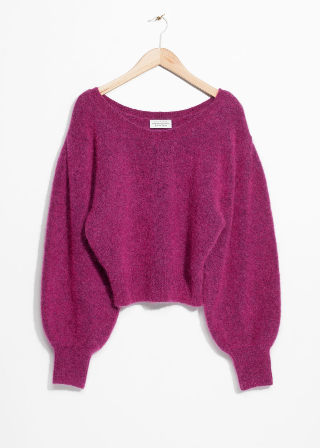 Front image of Stories boat neck sweater  in pink