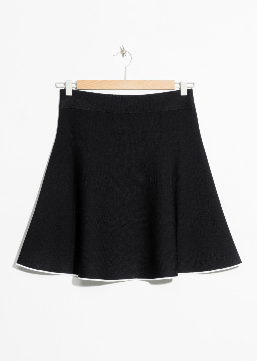 Front image of Stories a-line knit skirt in black