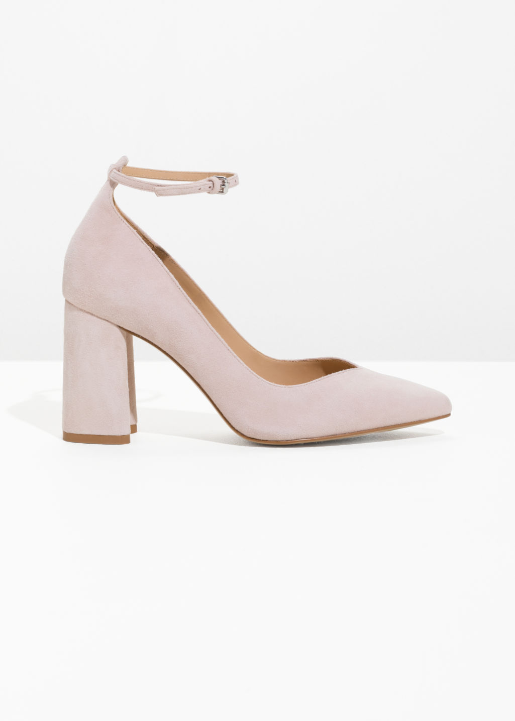 Front image of Stories ankle strap pumps  in pink