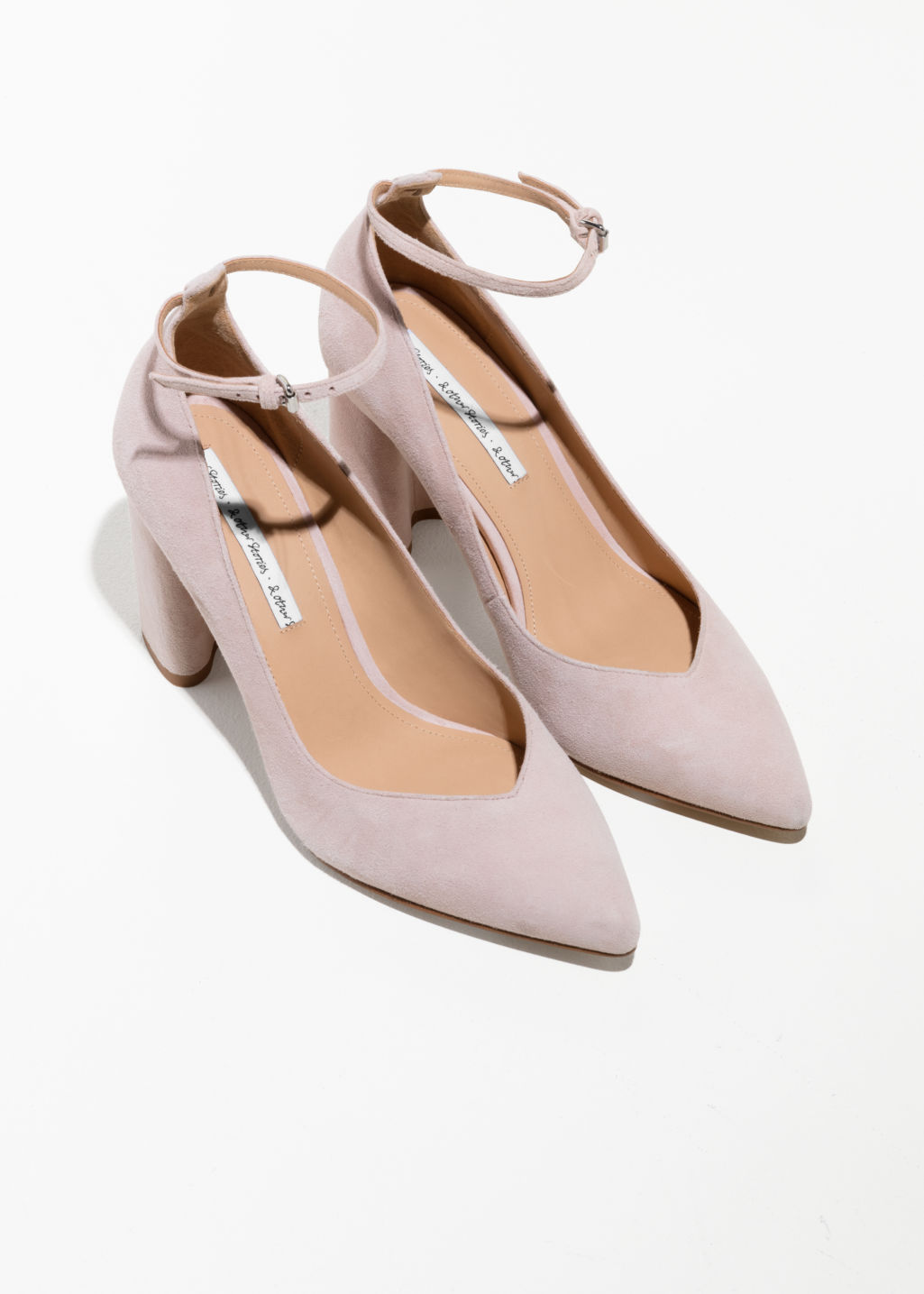 Back image of Stories ankle strap pumps  in pink