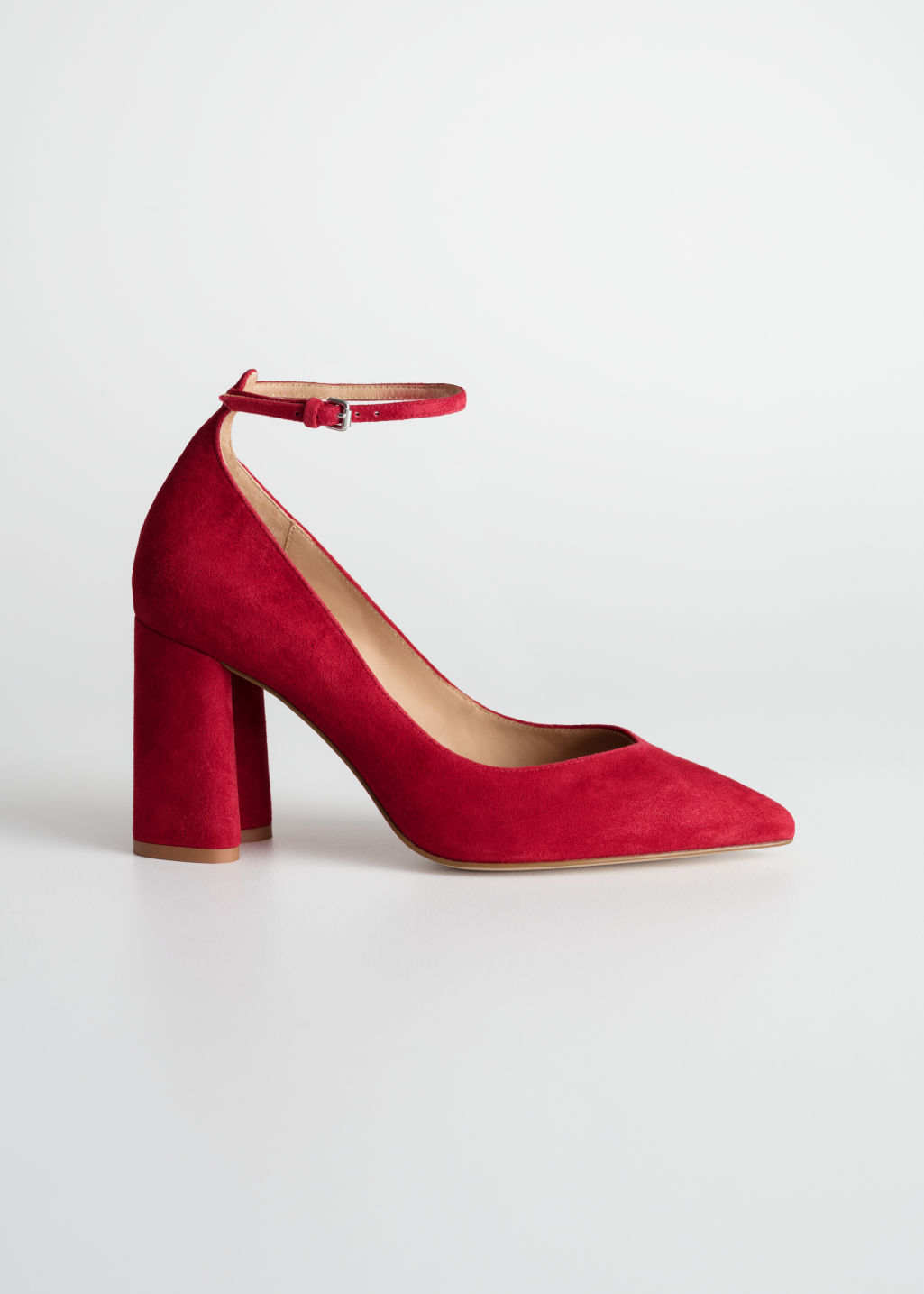 Front image of Stories ankle strap pumps  in red