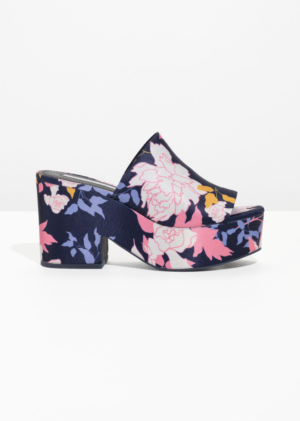 Front image of Stories floral print platforms in blue