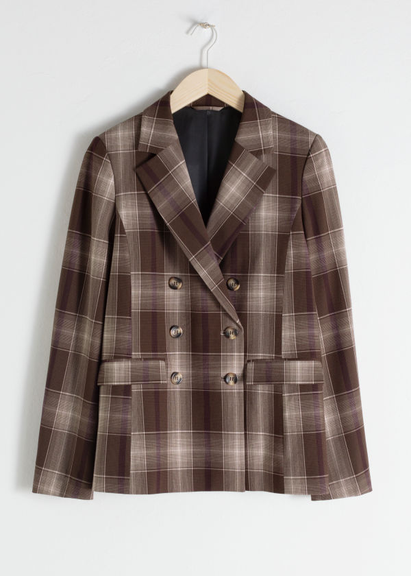 Front image of Stories plaid blazer in brown