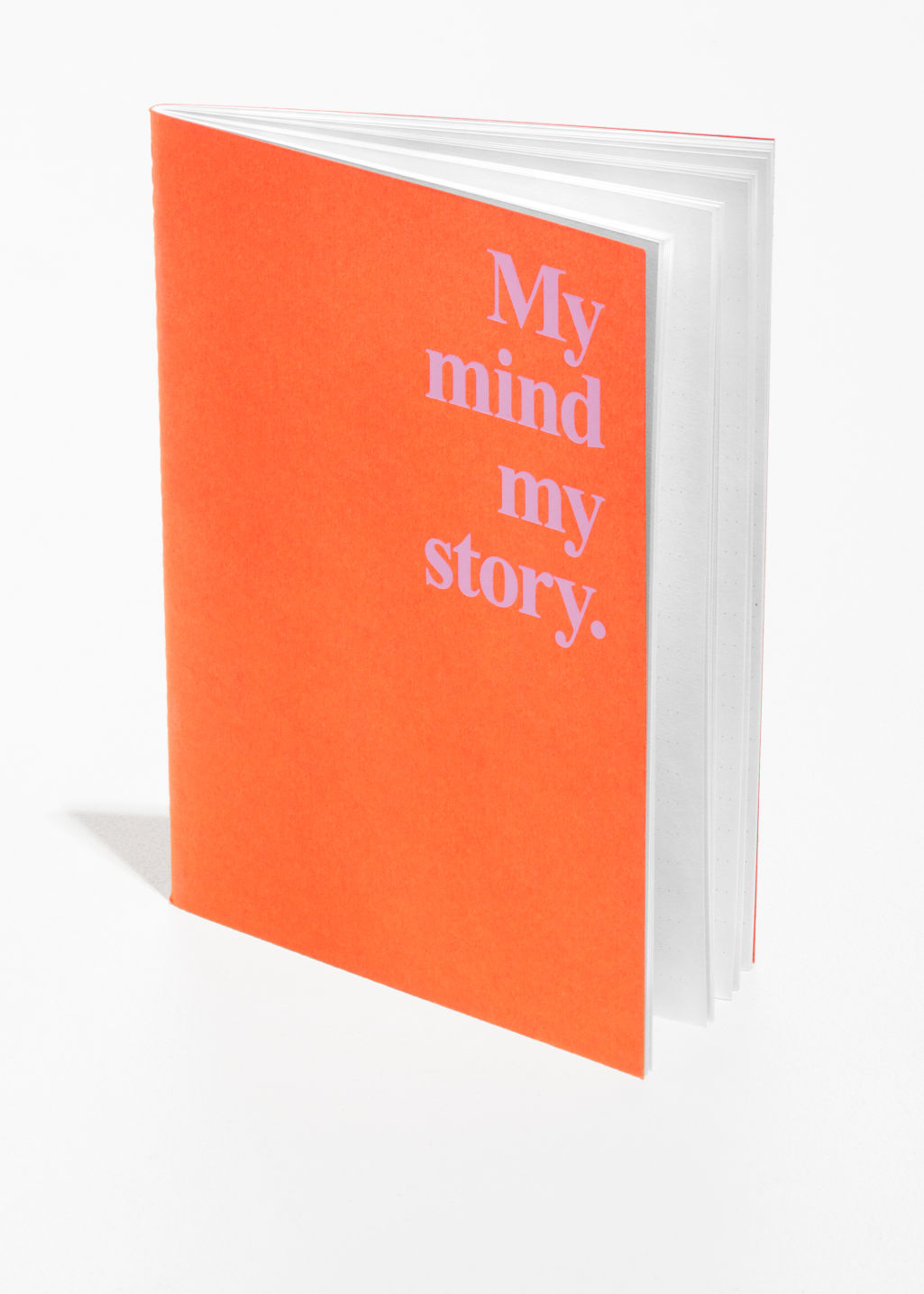 Front image of Stories a5 notebook  in orange