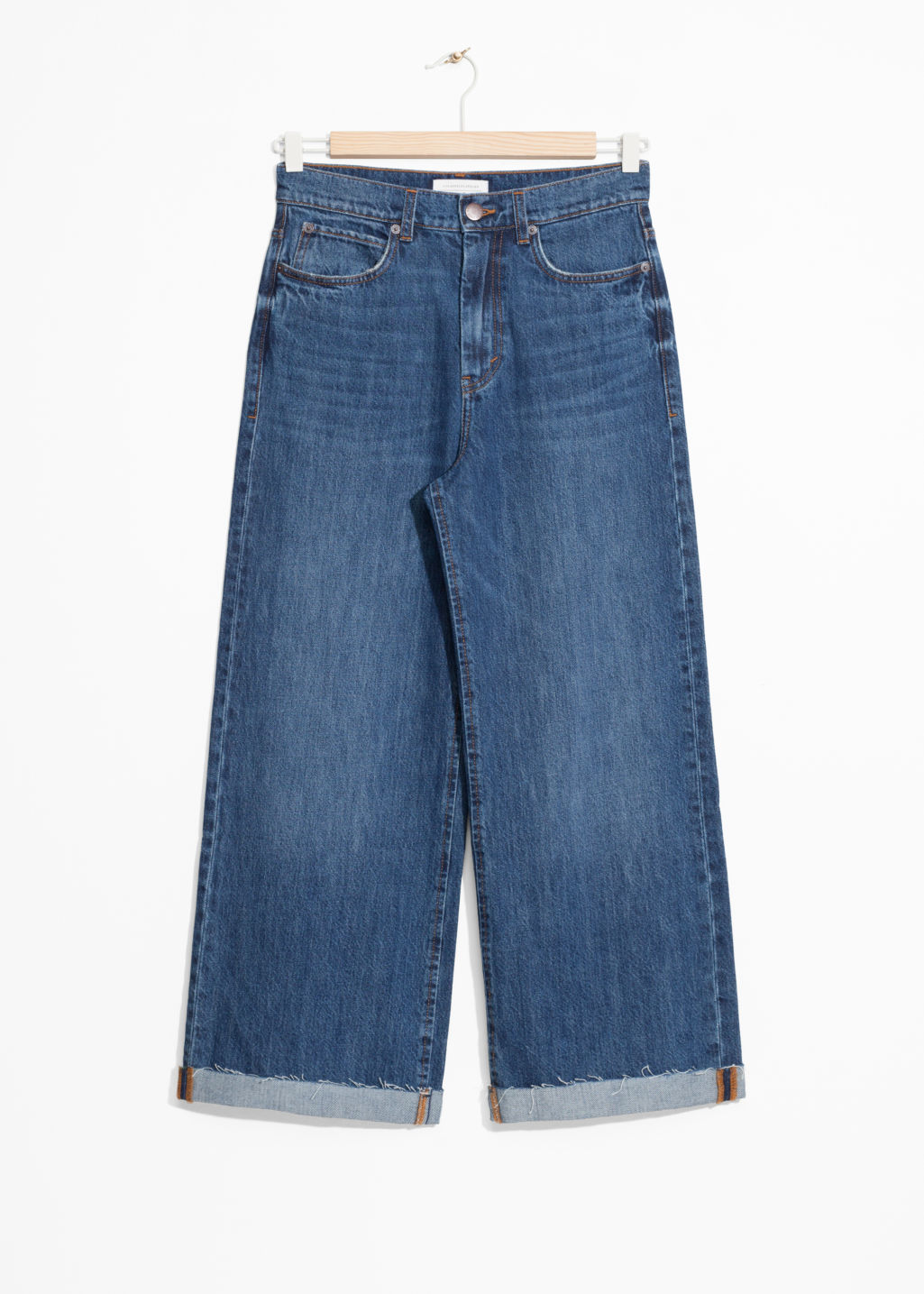 Front image of Stories cropped wide jeans in blue