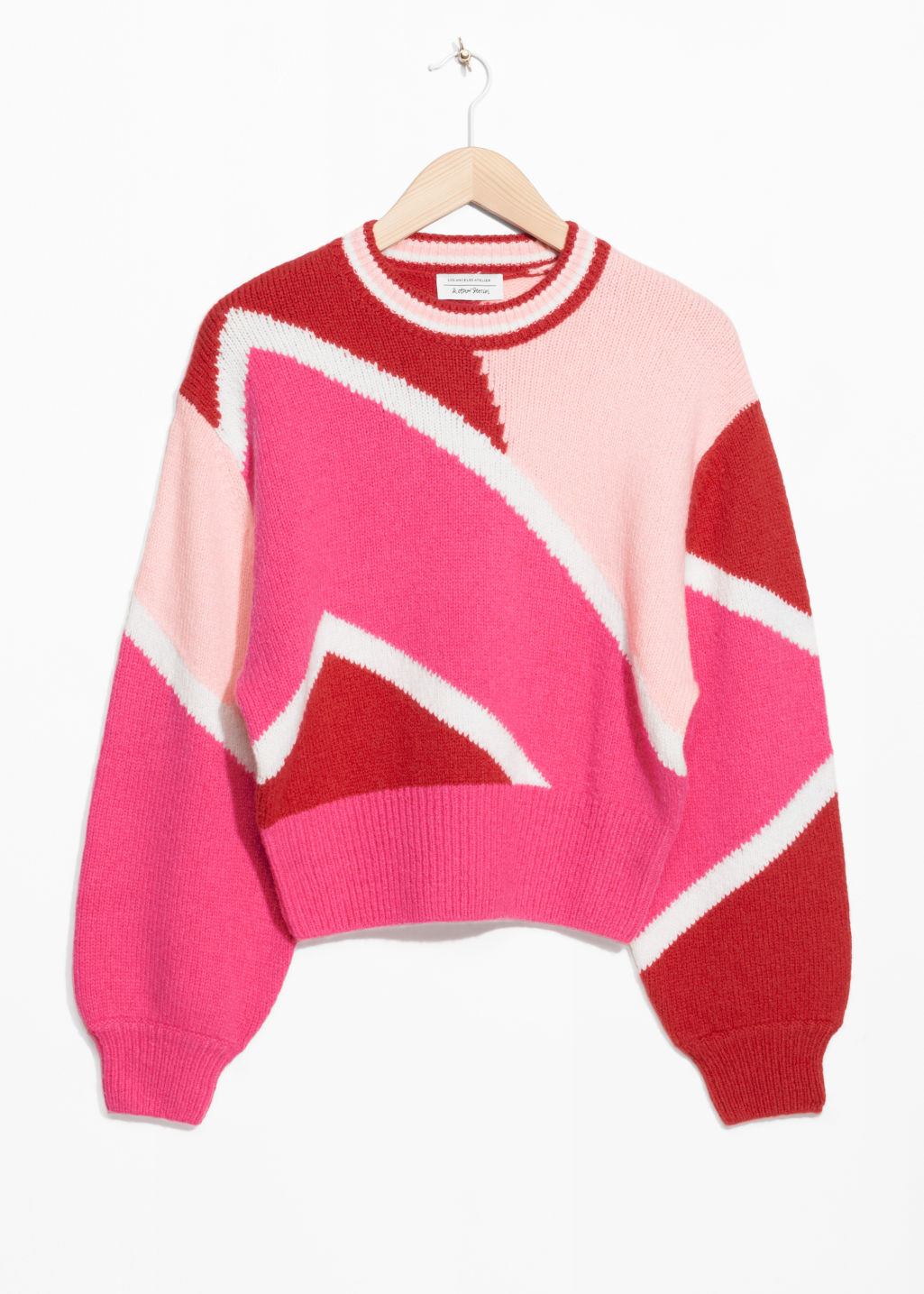 Front image of Stories color block sweater in pink
