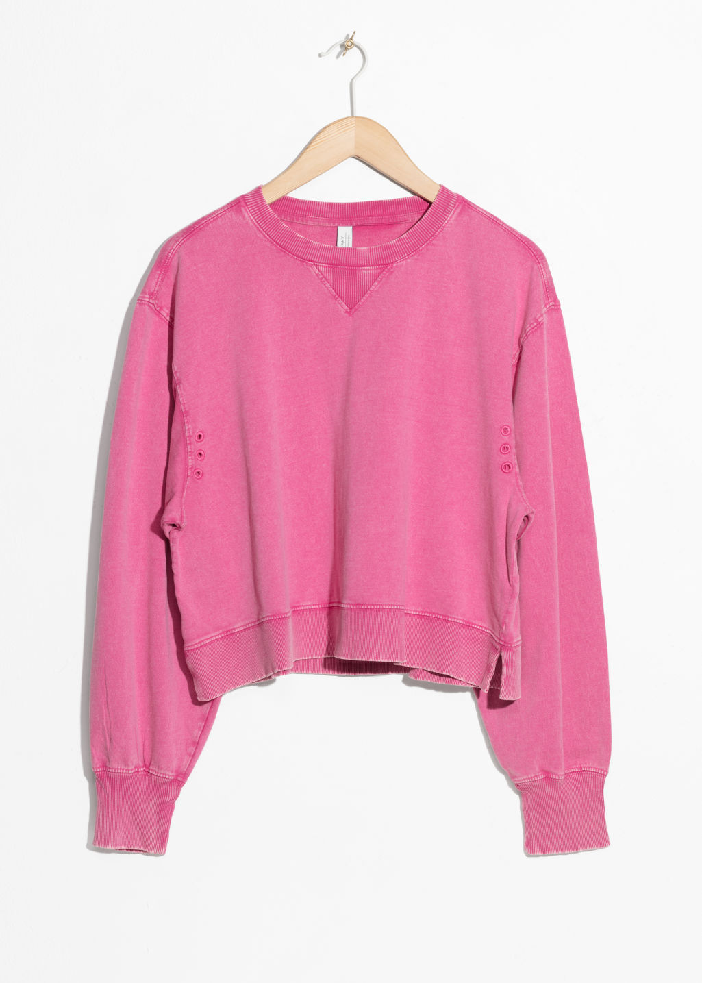Front image of Stories cropped pullover in pink