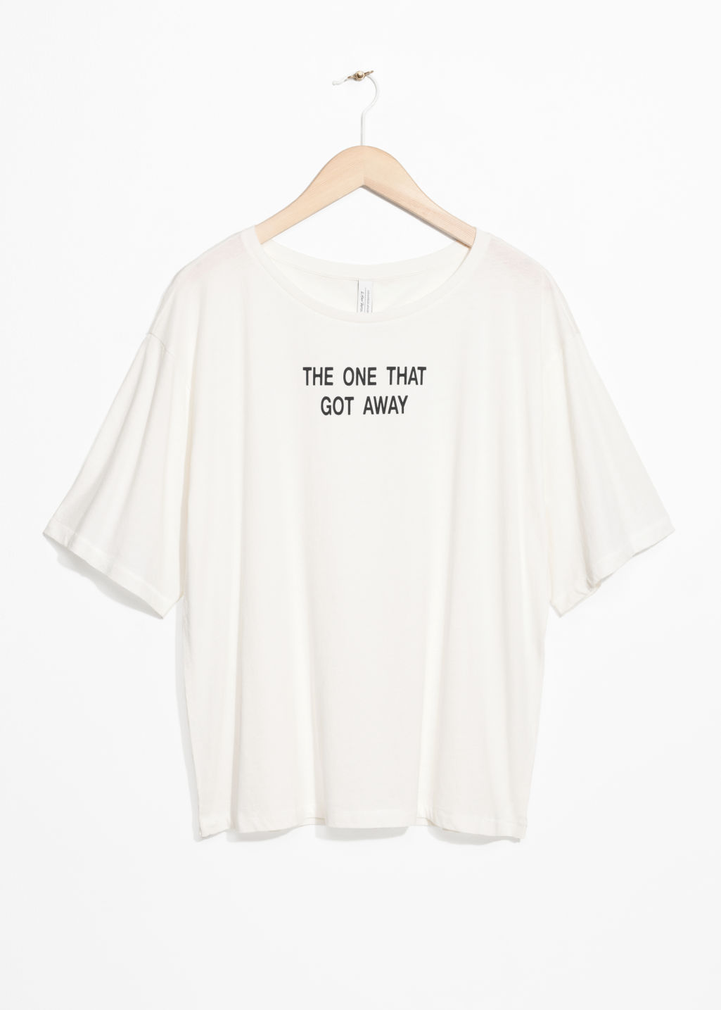 Front image of Stories slogan tee in white