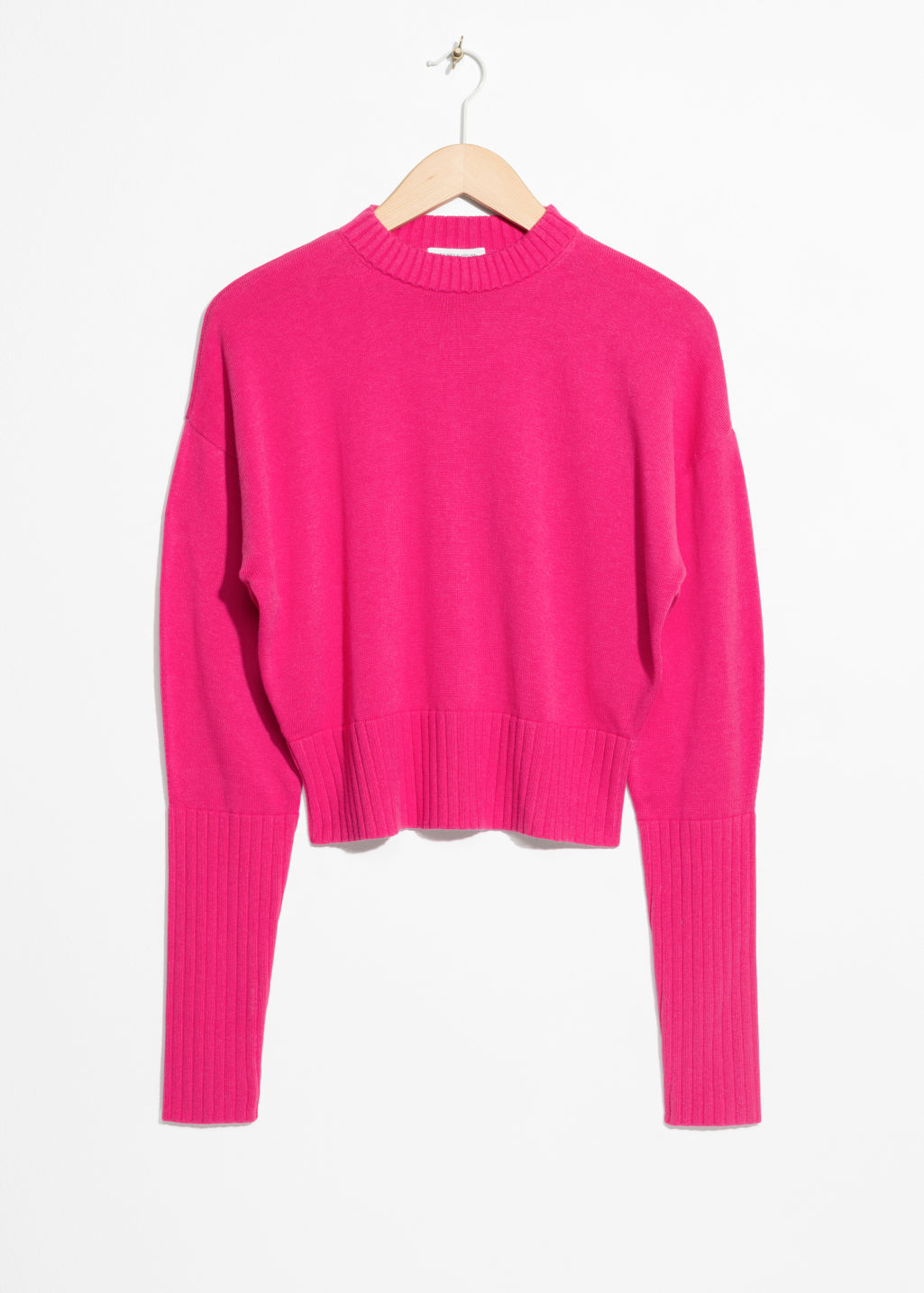 Front image of Stories cropped sweater  in pink