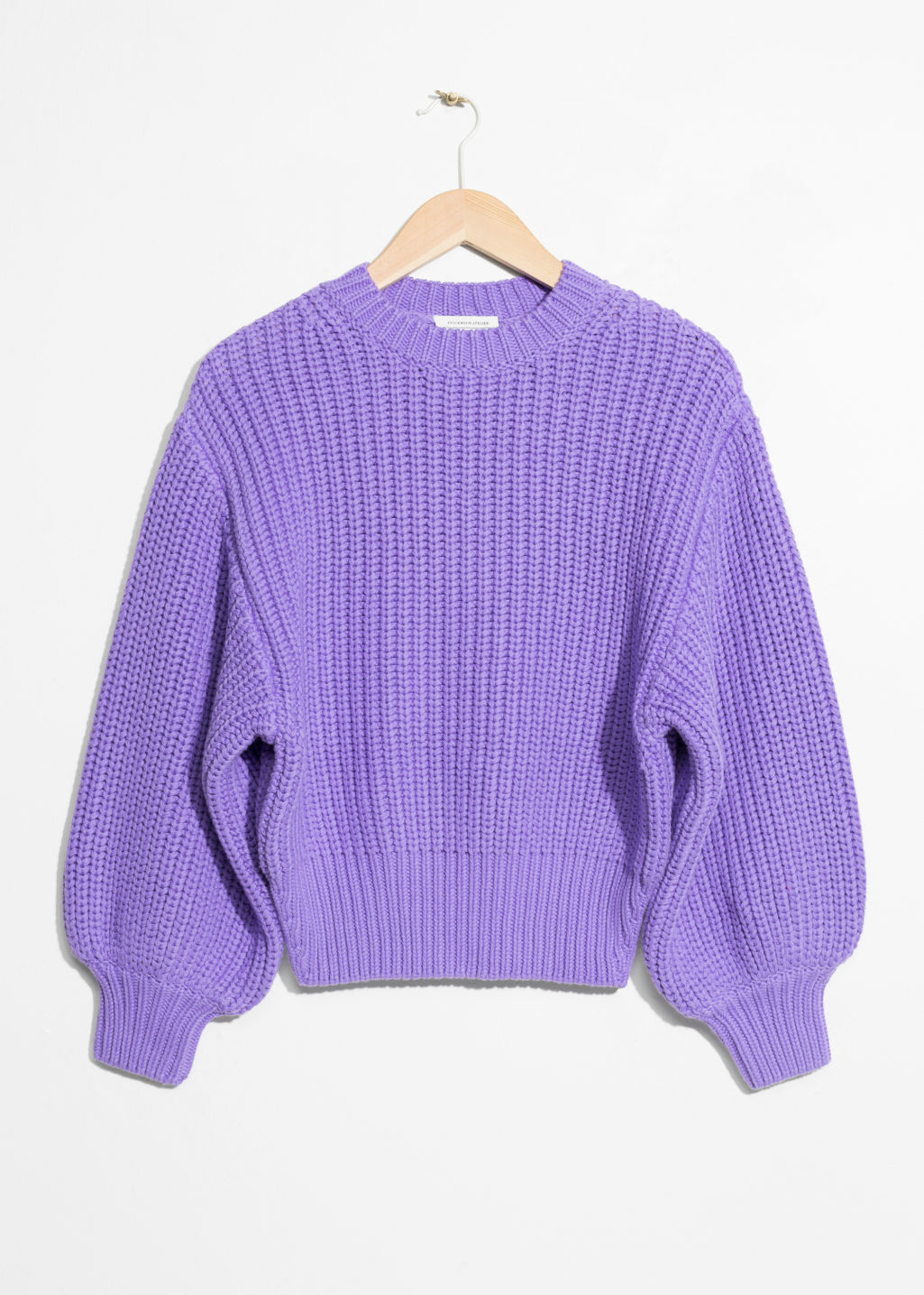 Front image of Stories chunky rib knit sweater in purple