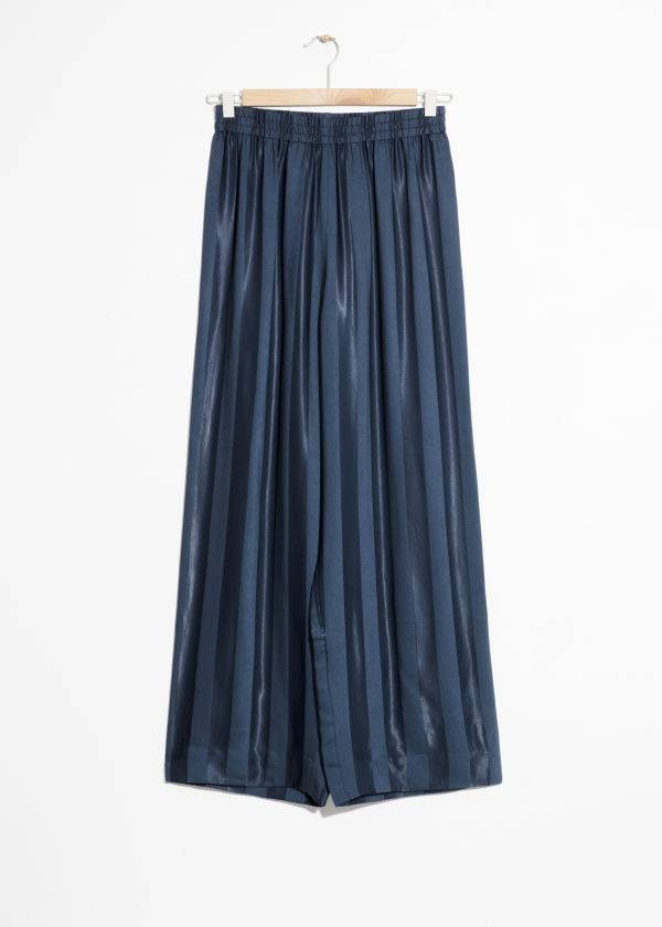 Front image of Stories wide jacquard striped trousers in blue