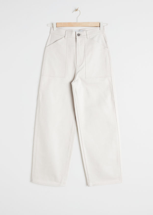 Front image of Stories workwear culottes in beige