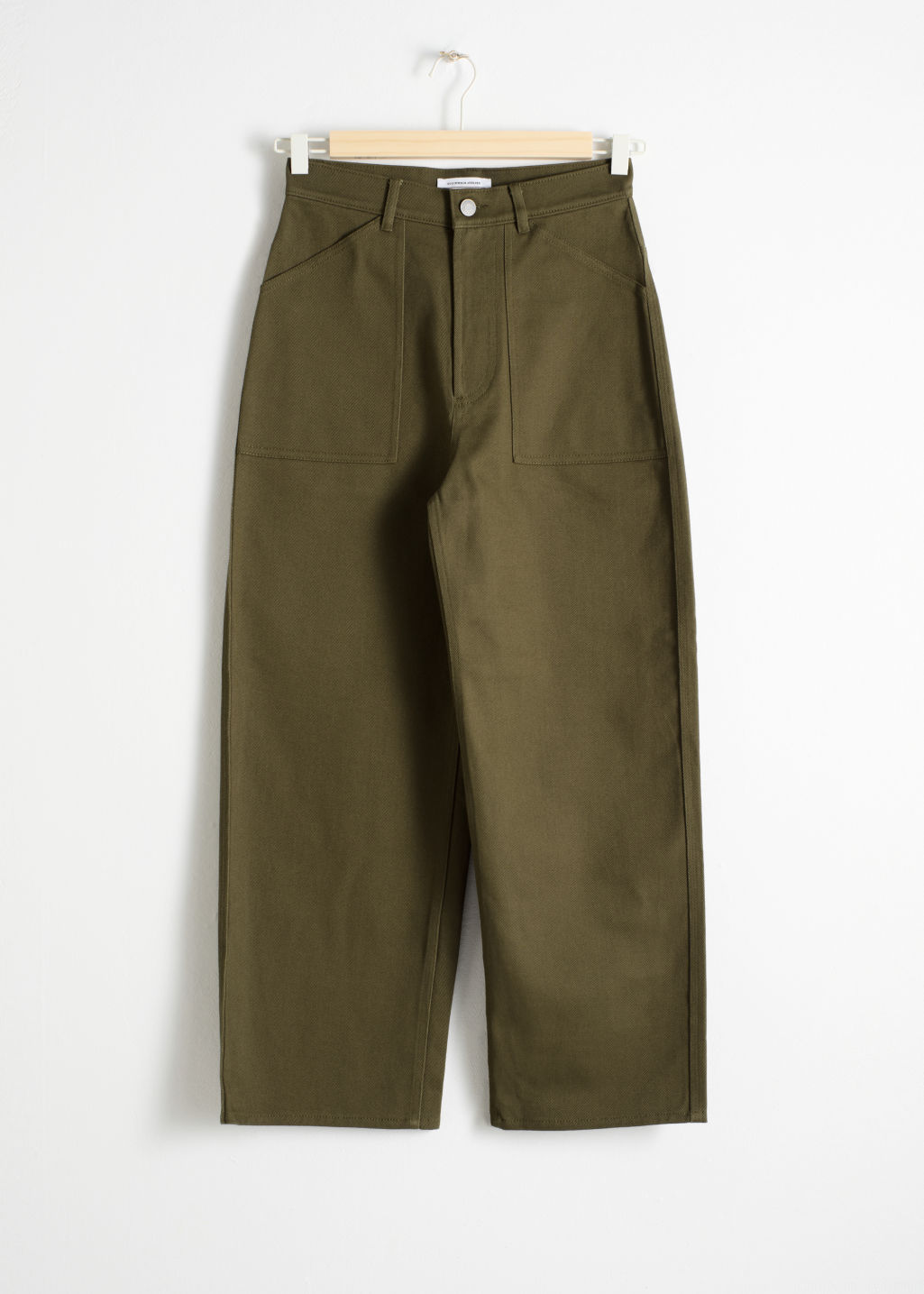 Front image of Stories workwear culottes in green