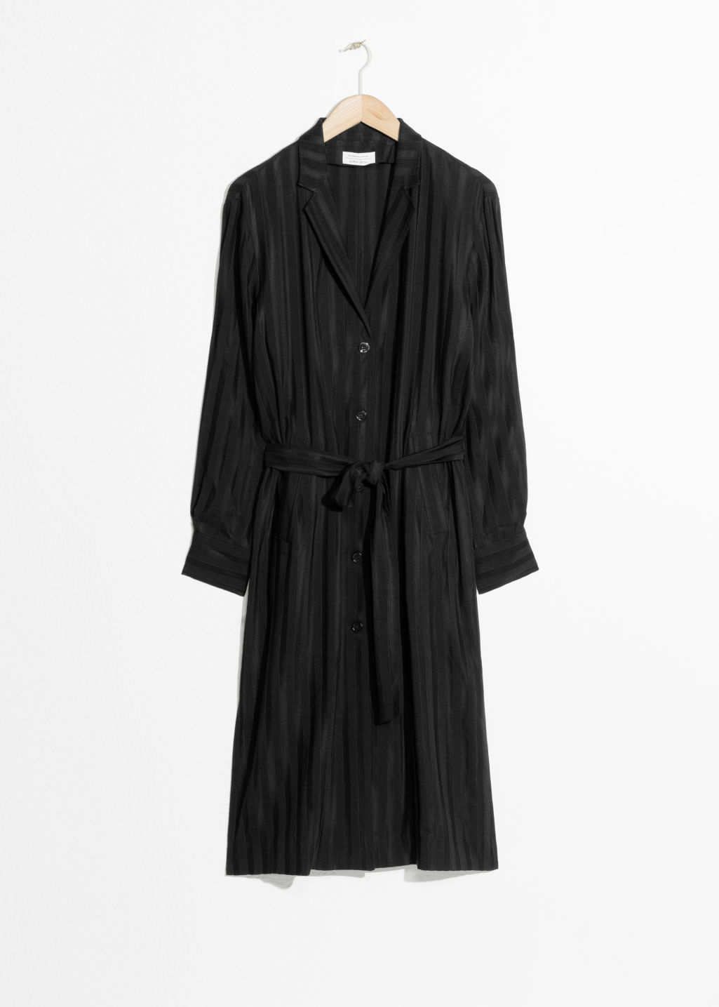 Front image of Stories belted blazer dress in black